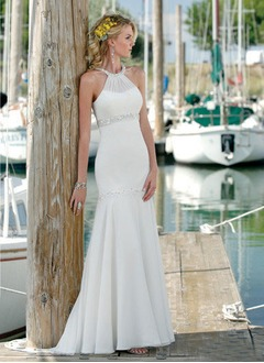 Trumpet/Mermaid Scoop Neck Court Train Chiffon Wedding Dress  ...