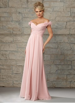 A-Line/Princess Off-the-Shoulder Floor-Length Chiffon Bridesmaid Dress With Ruffle Flower(s)