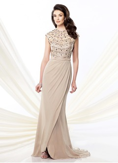 A-Line/Princess Scoop Neck Court Train Chiffon Tulle Mother of the Bride Dress With Lace Beading Sequins Split Front