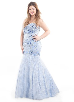 Trumpet/Mermaid Strapless Floor-Length Satin Tulle Lace Prom Dress With Beading Appliques Lace