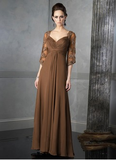 Empire Sweetheart Floor-Length Chiffon Mother of the Bride Dress With Appliques Lace