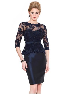 Sheath/Column Scoop Neck Knee-Length Taffeta Lace Cocktail  ...