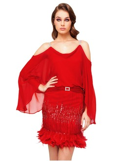 Sheath/Column Cowl Neck Short/Mini Chiffon Evening Dress With Feather Sequins