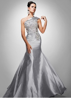 Trumpet/Mermaid One-Shoulder Floor-Length Taffeta Evening  ...