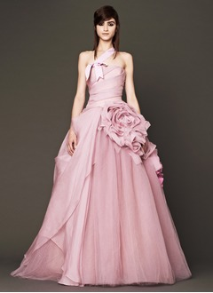 A-Line/Princess One-Shoulder Sweep Train Tulle Wedding Dress With Ruffle Flower(s)