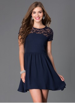 A-Line/Princess Scoop Neck Short/Mini Chiffon Homecoming Dress With Ruffle