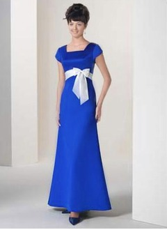 A-Line/Princess Scoop Neck Floor-Length Satin Bridesmaid Dress With Sash