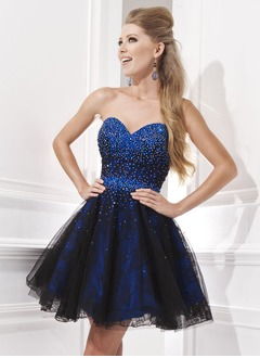 A-Line/Princess Strapless Sweetheart Short/Mini Taffeta Lace  ...