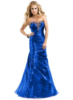 Trumpet/Mermaid Strapless Sweetheart Floor-Length Organza Prom Dress With Ruffle Beading