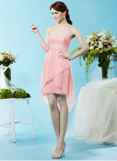 Sheath/Column Strapless Sweetheart Asymmetrical Chiffon Bridesmaid Dress With Ruffle