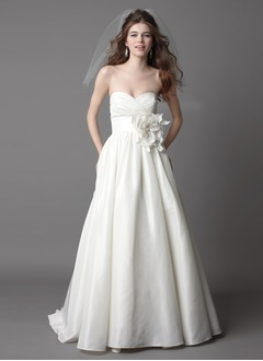 A-Line/Princess Strapless Sweetheart Court Train Taffeta Wedding Dress With Ruffle Flower(s)