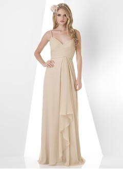 A-Line/Princess Sweetheart Sweep Train Chiffon Bridesmaid Dress With Ruffle
