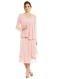 A-Line/Princess Scoop Neck Tea-Length Chiffon Mother of the Bride Dress With Sequins Cascading Ruffles