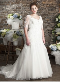 A-Line/Princess V-neck Court Train Satin Tulle Wedding Dress With Beading Appliques Lace