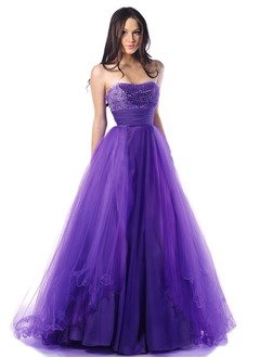 Ball-Gown Strapless Floor-Length Tulle Charmeuse Prom Dress With Ruffle Beading