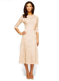 A-Line/Princess Scoop Neck Tea-Length Lace Mother of the Bride Dress With Bow(s)