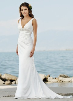 Empire V-neck Sweep Train Charmeuse Wedding Dress With Ruffle Beading
