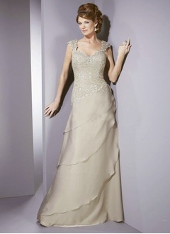A-Line/Princess Sweetheart Floor-Length Chiffon Mother of the Bride Dress With Lace Beading Cascading Ruffles