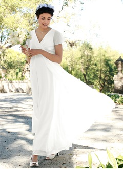 Empire V-neck Ankle-Length Chiffon Wedding Dress