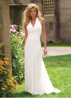Sheath/Column Halter Sweep Train Chiffon Wedding Dress With Ruffle Beading