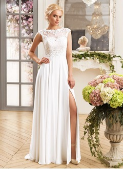 A-Line/Princess Scoop Neck Floor-Length Chiffon Wedding Dress With Appliques Lace Split Front