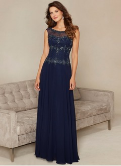A-Line/Princess Scoop Neck Sweep Train Chiffon Mother of the Bride Dress With Beading