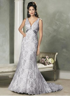 A-Line/Princess V-neck Court Train Satin Lace Wedding Dress With Beading