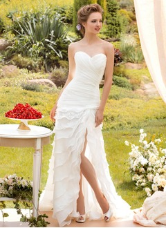 A-Line/Princess Strapless Sweetheart Sweep Train Organza Wedding Dress With Ruffle Split Front