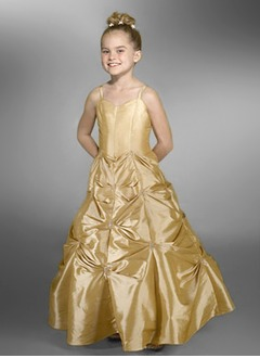 A-Line/Princess Sweetheart Floor-Length Taffeta Flower Girl Dress With Ruffle