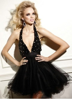 A-Line/Princess Halter Short/Mini Taffeta Tulle Cocktail Dress With Ruffle Beading