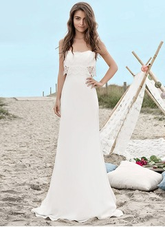 Sheath/Column Strapless Sweetheart Sweep Train Chiffon Wedding Dress With Lace