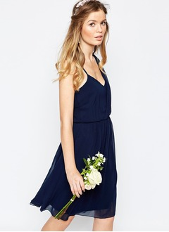 A-Line/Princess Sweetheart One-Shoulder Knee-Length Chiffon Bridesmaid Dress With Ruffle