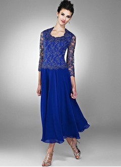 A-Line/Princess Scoop Neck Tea-Length Chiffon Mother of the Bride Dress With Appliques Lace