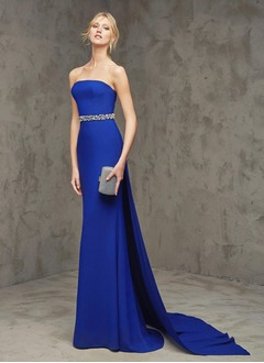 Sheath/Column Strapless Watteau Train Chiffon Evening Dress With Beading