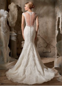 Trumpet/Mermaid V-neck Sweep Train Tulle Wedding Dress With Lace Beading