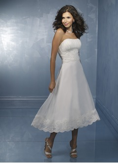 A-Line/Princess Strapless Sweetheart Tea-Length Organza Satin Wedding Dress With Lace Beading Sequins