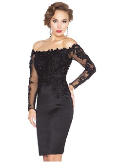 Sheath/Column Off-the-Shoulder Knee-Length Satin Lace Evening Dress
