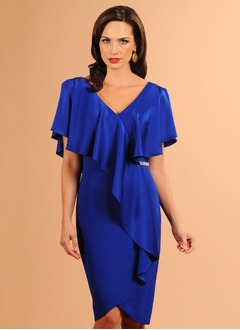 Sheath/Column V-neck Knee-Length Charmeuse Cocktail Dress With Beading Cascading Ruffles (0165101732)