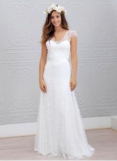 A-Line/Princess V-neck Sweep Train Chiffon Lace Wedding Dress With Sash