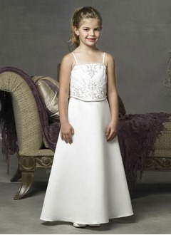 A-Line/Princess Strapless Floor-Length Satin Flower Girl Dress With Embroidered Beading
