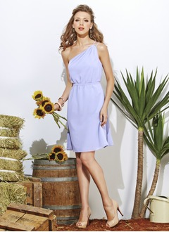 Sheath/Column One-Shoulder Short/Mini Chiffon Bridesmaid Dress With Ruffle