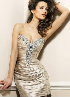 Sheath/Column Strapless Sweetheart Short/Mini Charmeuse Cocktail Dress With Beading