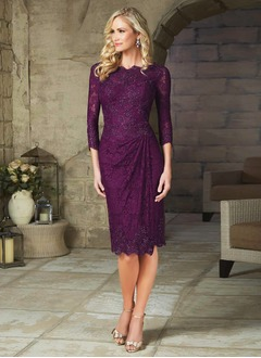Sheath/Column V-neck Scoop Neck Knee-Length Satin Lace Evening Dress With Ruffle Beading