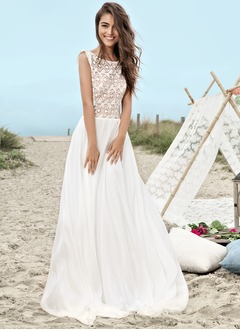 A-Line/Princess Scoop Neck Sweep Train Chiffon Wedding Dress  ...