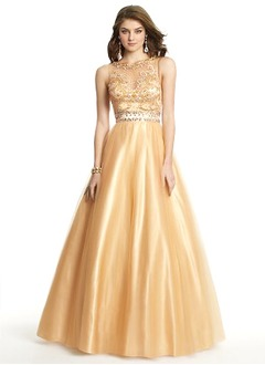 Ball-Gown Scoop Neck Floor-Length Tulle Charmeuse Prom Dress With Beading