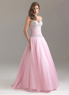 Ball-Gown Sweetheart Floor-Length Satin Tulle Prom Dress With  ...