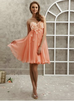 Empire Strapless Sweetheart Knee-Length Chiffon Organza Prom Dress With Ruffle
