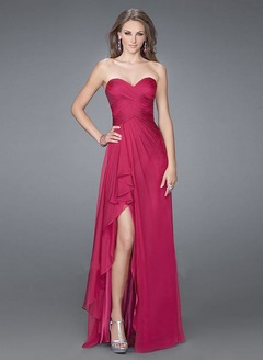 A-Line/Princess Strapless Sweetheart Asymmetrical Chiffon Prom Dress With Ruffle Split Front