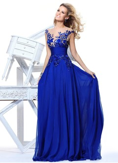 A-Line/Princess Scoop Neck Sweep Train Chiffon Tulle Prom Dress With Beading Appliques Lace