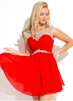A-Line/Princess Sweetheart Short/Mini Chiffon Evening Dress With Ruffle Beading